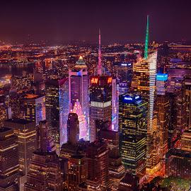 NY City at night by Alan Roseman - City,  Street & Park  Skylines ( night view, nyc at night, city life, manhattan, nyc, new york city, evening, , colorful, mood factory, vibrant, happiness, January, moods, emotions, inspiration )