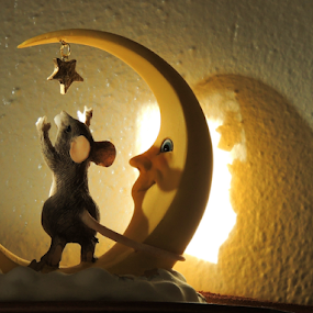 Reach For Your Star by Jamie Boyce - Artistic Objects Other Objects ( moon, mouse, shadow, star, random, object, glow, sunlit, figurine,  )
