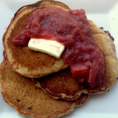 Whole Wheat Oatmeal Pancakes with Maple Roast Rhubarb