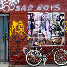 Sad Boys by Ronnie Caplan - City,  Street & Park  Neighborhoods ( photos, fashion, streetscene, facade, graffiti, door, bricks, wall, bicycle )