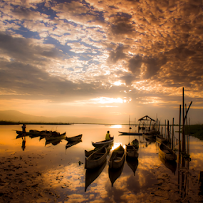 Waiting in Silent  by Tamin Ibrahim - Landscapes Sunsets & Sunrises ( dawn, lake, boat, landscape, people )