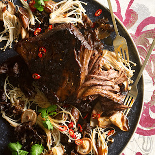 Barbecue Brisket With Shiitake Glaze And Stir-fried Mushrooms