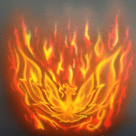 Air Brush Fire Bird by Kevin Dietze - Painting All Painting