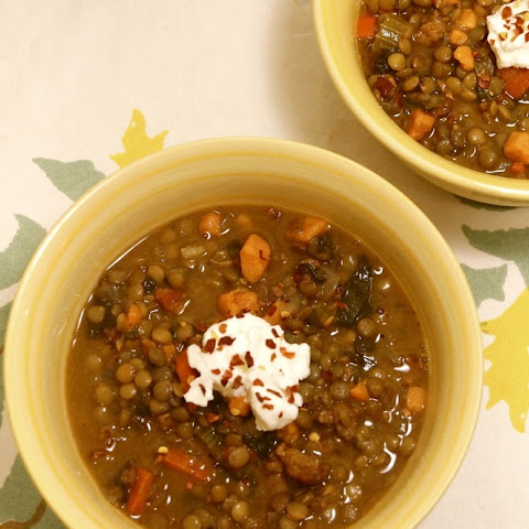 Sausage, Sweet Potato, and Lentil Stew