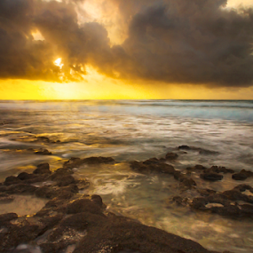 Sunrise at Cozumel by Cristobal Garciaferro Rubio - Landscapes Waterscapes ( water, clouds, cozume{ island, shore, sand, waves, sea, ocean, riviera maya, sun, caribbean, caribbean sea, rise, long exposure, sunrise, caribe, rocks, mayan )