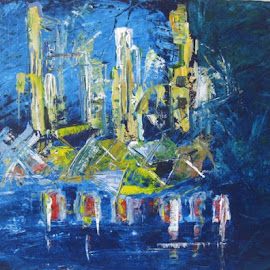 City at Zara river, I painted this abstract for a memor in the Melbourne's visit. by Nguyen Linh - Painting All Painting