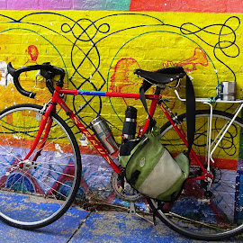 Hippy Bicycle by Joyce Thomas - Transportation Bicycles ( colorful background, yellow springs, hippy bicycle,  )