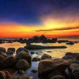 Split by Herlan Satriandi - Landscapes Sunsets & Sunrises ( orange, red, blue, sunset, indonesia, sambas, beach, singkawang )