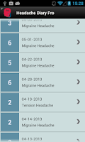 Screenshot of Headache Diary Pro