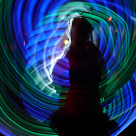 Blue Girl by Cecilia Sterling - Abstract Light Painting ( abstract, girl, blue, blue lights, hula hoop, hooping,  )