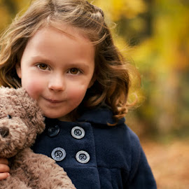 Autumn Mini Sessions by Dominic Lemoine Photography - Babies & Children Child Portraits ( girl, woodland, smile, bokeh, teddy )