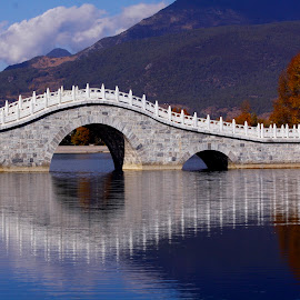 The Bridge Over Still Water by Rod Lee - Buildings & Architecture Bridges & Suspended Structures ( reservoir, bridge, still water, lijiang )