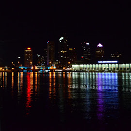 Tampa Bay at Night by Mary Beth Schepper - City,  Street & Park  Skylines ( water, colors, city, nightscape )