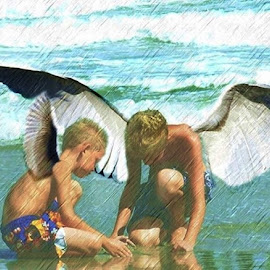 by Karen Phil Griggs - Digital Art People ( children, ocean, angels, digital photography, inspirational )