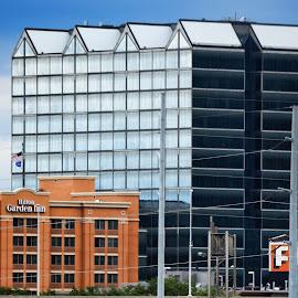 Downtown Omaha Nebraska by Leah N - Buildings & Architecture Office Buildings & Hotels ( blue, orange. color )