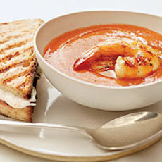 Grilled Shrimp Gazpacho with Fresh Mozzarella-and-Prosciutto Sandwiches