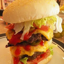 I Think I need a BIGGER Mouth Burger by Kasha Newsom - Food & Drink Meats & Cheeses ( burger, food, cheeseburger, hamburger )