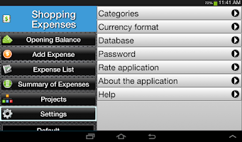 Screenshot of Shopping Expenses