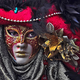 The Mask by Francis Xavier Camilleri - People Musicians & Entertainers ( carnival, colors, mask, entertainer, portrait,  )