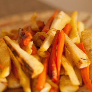 Roasted Parsnips and Carrots with a Honey Glaze