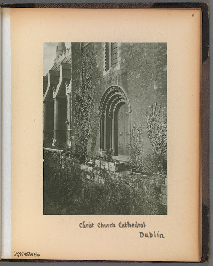 Photographs begin to appear in Westropp's published papers from the 1890s onwards. In his framing of photographs he mimics the style of traditional graphic illustration, in which he was especially skilled. The Library of Trinity College Dublin holds other Westropp photographic albums, such as 'The Ancient Buildings of Ireland' (TCD MS 5869), as well as research notes and accompanying drawings. As someone who spent his entire career recording buildings at risk of destruction, he approached his study of the ruins of the Rising as a species of field work. The journalistic impulse to convey reactions or emotions was peripheral to his main objective, which was to document the damage inflicted on Dublin's buildings, from as many angles as possible.