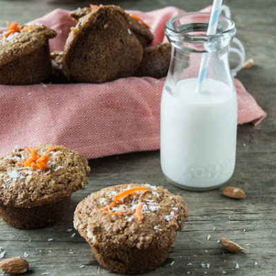 Carrot-Almond Muffins with Ginger & Coconut