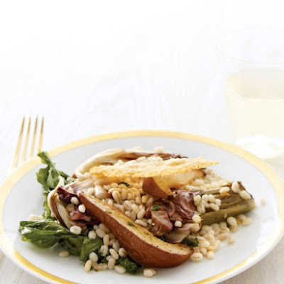 Radicchio and Escarole Salad with Barley and Roasted Pears