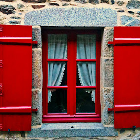 Red Window by Dobrin Anca - Buildings & Architecture Architectural Detail ( red, village, window, brittany, walk,  )