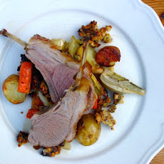 Roast Rack Of Lamb With A Honey, Rosemary, Garlic And Granola Crust