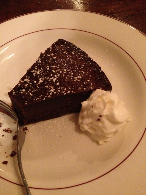 Chocolate flourless cake. So yummy. Very dense.