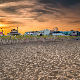 Rehoboth Beach by Jeb Buchman - Landscapes Beaches ( tides, rehoboth, sunset, beach, surf, boardwalk )