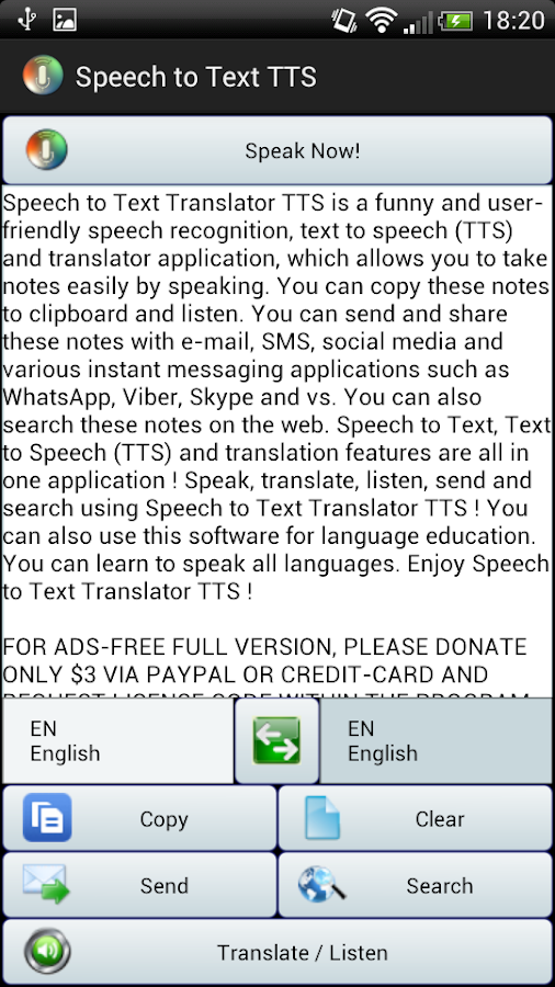 Speech to Text Translator TTS Screenshot 2