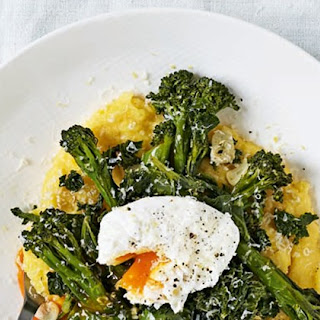 Fried Tenderstem And Kale With Poached Eggs And Polenta
