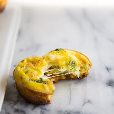 Swiss Cheese Quiche Muffins with Cornbread Bottoms