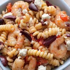 Greek Pasta with Shrimp, Feta, Tomatoes, and Olives Recipe
