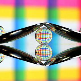 by Dipali S - Artistic Objects Other Objects ( reflection, spoons, abstract art, color, artistic, spheres, stripes, refraction )