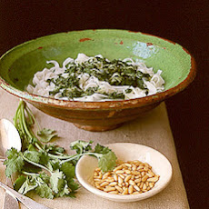 Rice Noodles with Cilantro Pesto