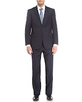 Neiman Marcus Textured Wool Twill Modern-Fit Suit, Navy - (40R)