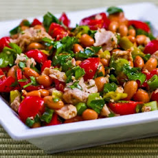 Spicy Pinto Bean and Tuna Salad with Peperoncini, Tomatoes, and Parsley