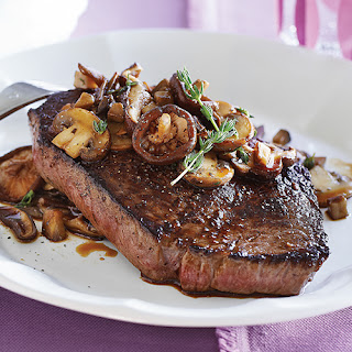 Steak with Mixed Mushroom Sauté