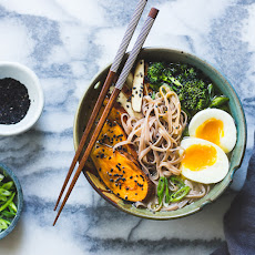 Miso + Rice Noodle Soup with Sesame Roasted Sweet Potatoes + Broccolini