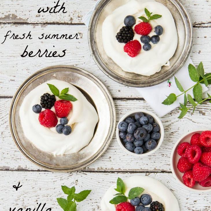 Meringues With Fresh Summer Berries & Vanilla Creme Fraiche