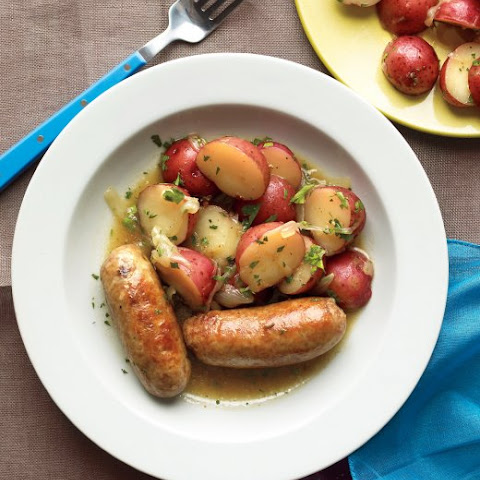 Beer-Braised Sausages with Warm Potato Salad
