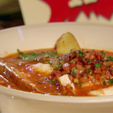 Manhattan Fish Chowder with Roasted Fingerling Potatoes and Bacon Relish