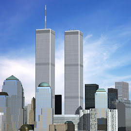 Computer Generated Twin Towers by Nick Mateja - Illustration Buildings ( structure, model, max, lower, 9/11, trade, architecture, 11, city, twin, center, skyscraper, towers, no people, foundation, york, chicago, tall, september )