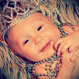 Little Princess by Becky Hardy Dixon - Babies & Children Babies ( 3 month old, babies, girl, happy, crown, blue eyes, jewelry, baby, smiling )