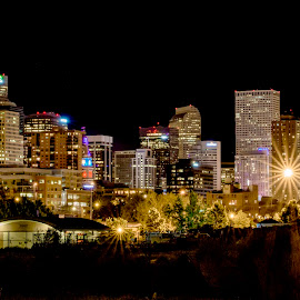 Denver Cityscape by Cody Smetzer - City,  Street & Park  Skylines ( lights, night life, night lights, sky rise, buildings, colorado, denver, night, long exposure, architecture, cityscape )