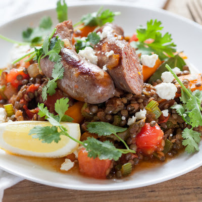 French Lentils with Sautéed Vegetables & Lamb Sausage