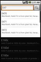 Screenshot of Halal E-Codes