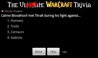 Screenshot of WoW Trivia - Free Version